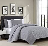 quilt set queen grey - Bourina Reversible Quilt Coverlet Set Queen - Microfiber Lightweight Bedspread Oversized 3-Piece Quilt Set, Grey, By