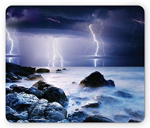 Ambesonne Nature Mouse Pad, Summer Storm Flashes Over The Rocks in Ocean Nightmare Theme Weather Nature Image, Standard Size Rectangle Non-Slip Rubber Mousepad, Purple ()