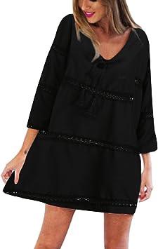 Robe Droite Basique Elégante Mi longue Automne Col Rond Noir