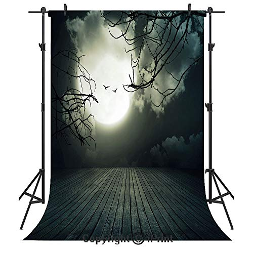 Halloween Photography Backdrops,Wooden Planks Floor with Leafless Branches and Blurred Full Moon Mysterious Decorative,Birthday Party Seamless Photo Studio Booth Background Banner 3x5ft,Black Grey Whi