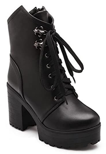 Women's Comfy Platform High Heels Chunky Ankle Martin Boots Combat Booties Lace Up