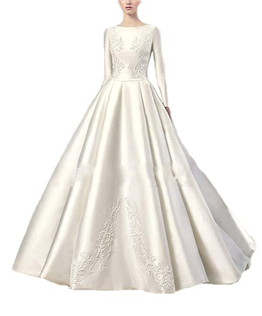 Kmbridal Long Sleeve Lace Satin Wedding Dresses for Bride Ball Gown Princess Bridal Dress at Amazon Womens Clothing store: