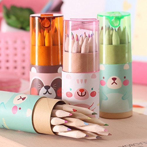 Mziart Cute Cartoon Bear Mini Drawing Colored Pencils with S