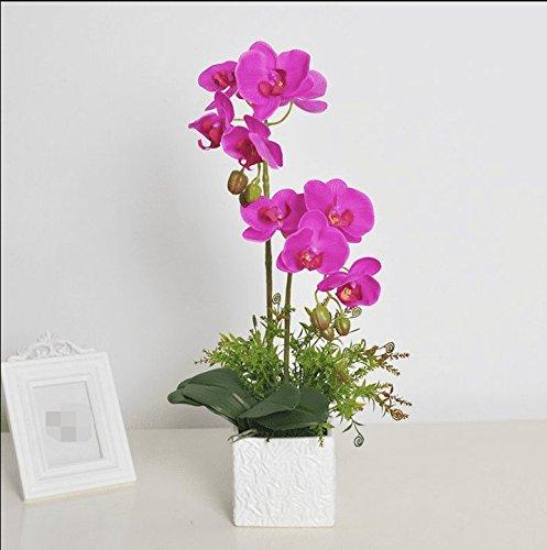 LSRHT Phalaenopsis Plantes en Pot Accueil Décoration Fleurs Artificielles Set Violet