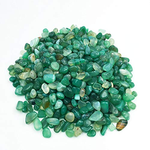 favoramulet Green Agate Tumbled Stone Chips, Polished Crushed Healing Crystal Quartz Pieces Vase Filler 1 LB (Stone Green Agate)
