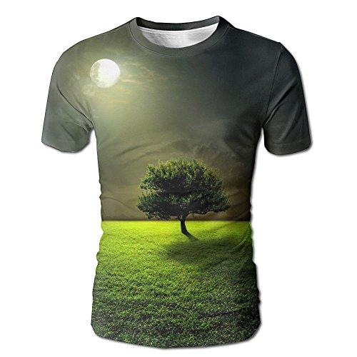FASHION N WORLD Mens Mysterious Moon Tree Casual T-Shirt Short Sleeve Sports - Casuarina Shopping