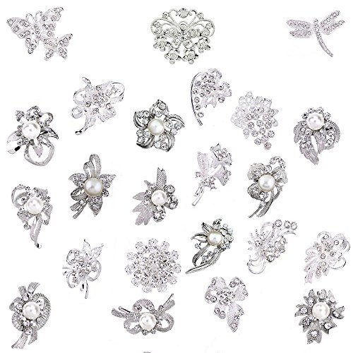 - Ezing Lot 24pc Shining Rhinestone Crystal Brooches Pins DIY Wedding Bouquet Kit (A)