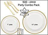 500-piece Premium Plastic Plate Combo Pack, Bone w/GOLD, 7'' and 10'' Plates and Gold Cutlery w/Signature Party Picks - SERVES 100