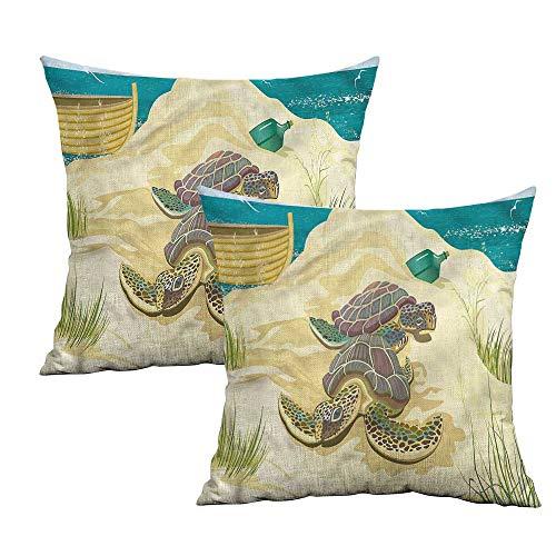 (Khaki home Turtle Square Pillowcase Covers with Zipper Sea Turtles Sand Boat Square Funny Pillowcase Cushion Cases Pillowcases for Sofa Bedroom Car W 24