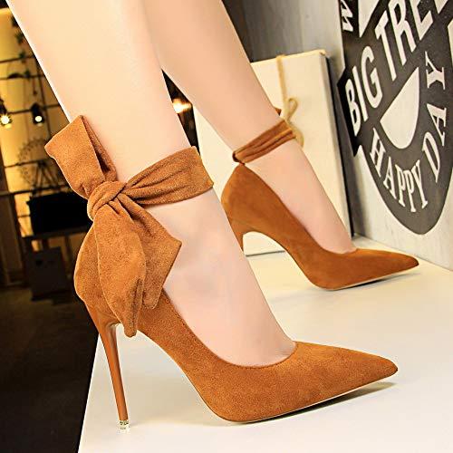 Yukun zapatos de tacón alto Zapatos De Mujer Acentuados Boca Baja Stiletto PU Zapatos De Mujer Salvaje Bow High Heels Camel