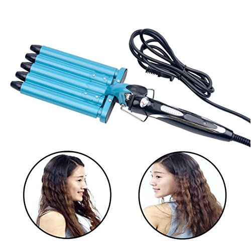 (Pro Nano Titanium Automatic Ceramic Hair Curler 5 Barrels Big Hair Wave Waver Curling Iron Hair Curlers Rollers Styling Tools Blue)