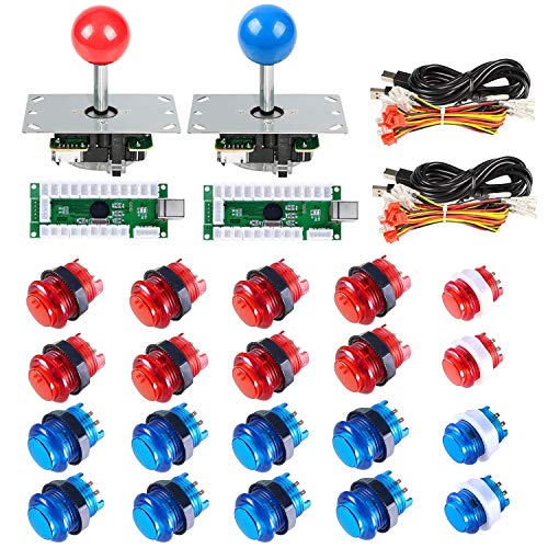 Gamelec 2-Players Arcade Buttons and Joystick Kit for Raspberry Pi with Retro Pie System and PC Video Games, Zero Delay USB Encoder and LED Illuminated Push Buttons DIY Kits for Mame (Red & Blue)