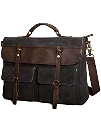 Large Messenger Bag for Men, Vintage Waxed Canvas Satchel Leather Briefcases Crossbody Shoulder Bags, 15.6 inch Computer Laptop Bags Water Resistant Travel School Work Bag Black