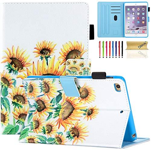 (Dteck iPad Mini 1/2/3/4 Case - Slim Fit Premium PU Leather [Multi-Angle View] Folio Stand Wallet Cover with Auto Wake/Sleep Smart for Apple iPad Mini 1/Mini 2/Mini 3/Mini 4, Sunflower)