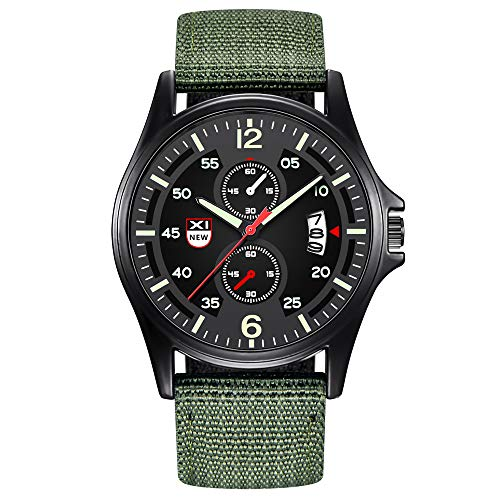 Present Hot!!!Military Nylon Waterproof Date Quartz Analog Army Men's Quartz Wrist Watches Outsta for Men Boys Holiday Gift (A)