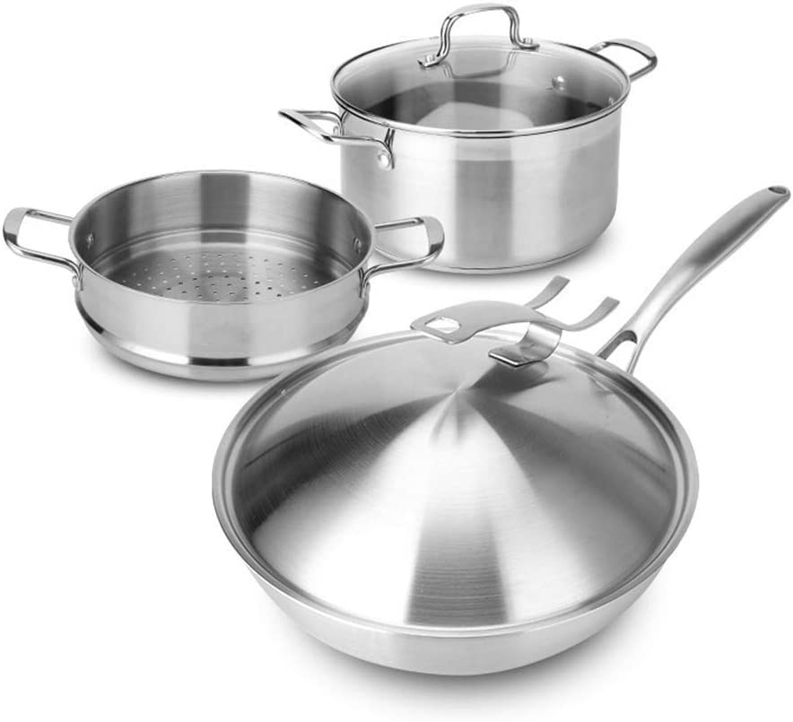 YWYW Stainless Steel Wok Cookware Set Three-Piece Wok Cookware Set Three Layer Steel Induction Cooker Gas Cooker Universal 24cm