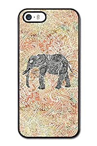 Personalized Tribal Paisley Elephant Cute Smartphone Cover Skin Polycarbonate (PC) Hard Vintage Hipster Fashion Design Art Print Cell Phone Case Cellphone Accessories Fits For iPhone 5,5S (Choose from Black and White)