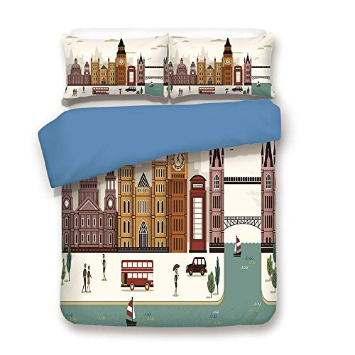 - iPrint Duvet Cover Set,Blue Back,London,Attractive Travel Scenery Famous City England Big Ben Telephone Booth Westminster,Multicolor,Decorative 3 Pcs Bedding Set by 2 Pillow Shams,Full Size