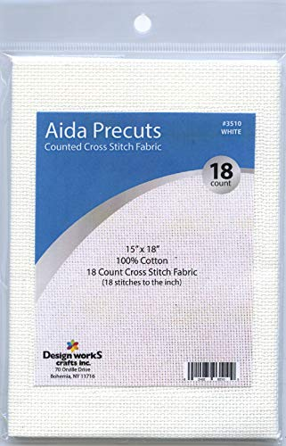 Design Works Gold Quality Aida 18 Count 15″X18″-White