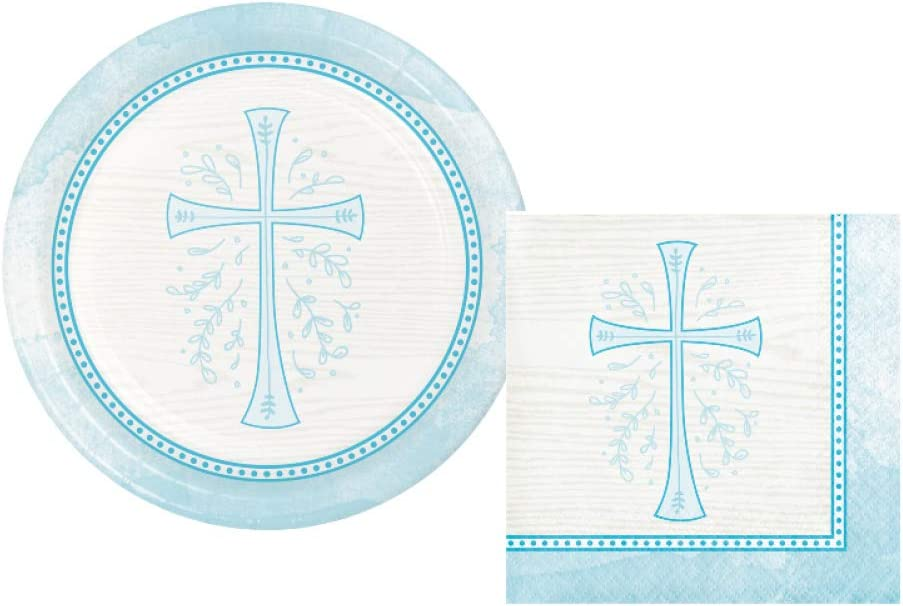 Inspirational Religious Party Supplies: Bundle Includes Dessert Plates and Napkins for 16 People in a Divinity Cross Design (Blue)