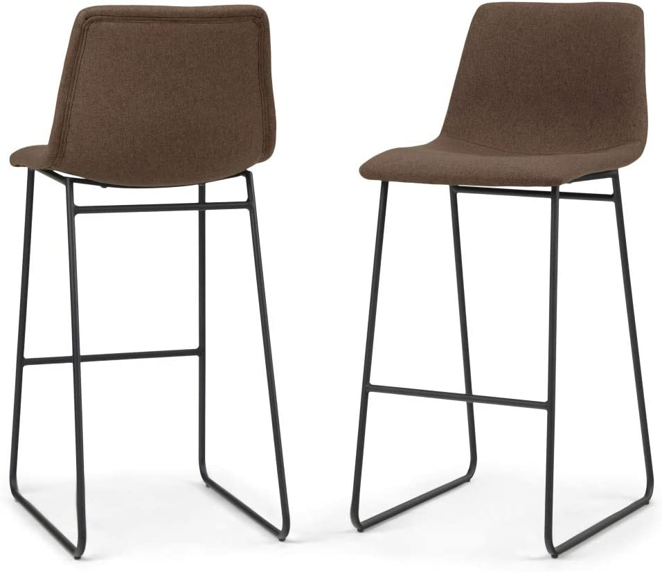 Simpli Home Ridley Contemporary Mid Century 30 inch Bar Stool (Set of 2) in Brown Linen Look Fabric