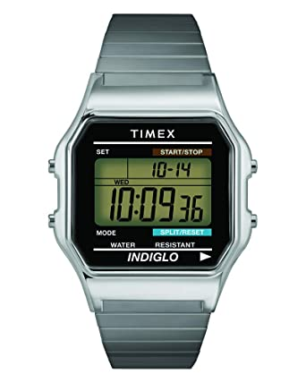 695e02ed3 Timex Men's T78587 Classic Digital Silver-Tone Stainless Steel Expansion  Band Watch