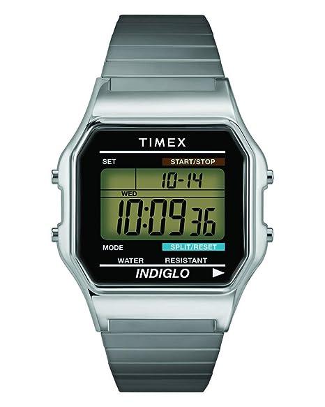 Timex T78587PF - Reloj digital de cuarzo para hombres, correa de acero inoxidable, color plateado: Timex: Amazon.es: Relojes