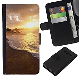 KLONGSHOP // Tirón de la caja Cartera de cuero con ranuras para tarjetas - Naturaleza Sunset Agua - Samsung Galaxy A3 //