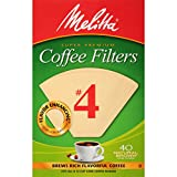 Melitta #4 Cone Coffee Filters, Natural Brown, 40