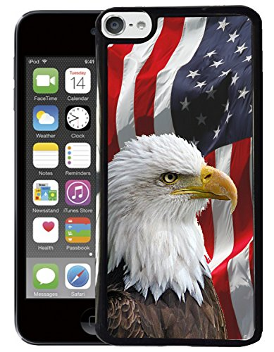 TeleSkins - Protective Plastic Case For Ipod Touch 5 Case / Ipod Touch 6 / Ipod Touch 7 Case - Bald Eagle American Flag - Ultra Durable Slim Fit, Soft Plastic Snap On Back Cover (Wood 5 Case Ipod)