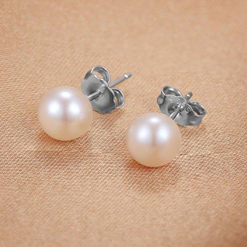 JewelryPalace Magnifique Boucles d'Oreilles Clous et Puces Femme en Argent Sterling 925 en Perles d'Eau Douce Culture Blanche Ronde 6mm 7mm 8mm
