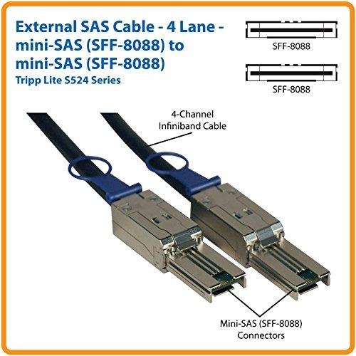 Tripp Lite External SAS Cable, 4 Lane - mini-SAS (SFF-8088) to mini-SAS (SFF-8088) 2M (6-ft.)(S524-02M)