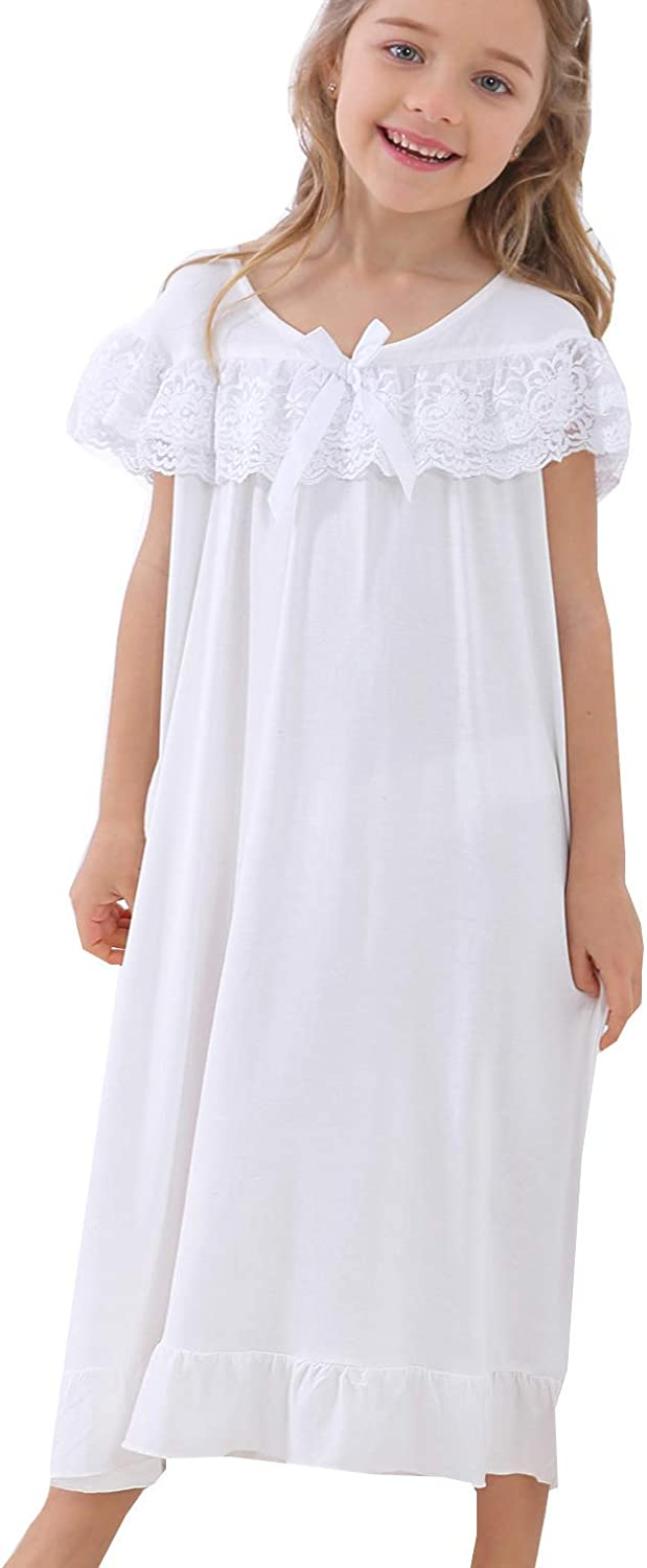 Nightgowns for Girls Ladies Nightdress Cotton Short Sleeve with Lace Princess Nightwear Nightie