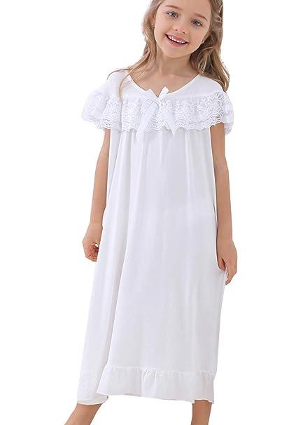 Amazon.com: PUFSUNJJ - Camisón de algodón suave para niñas ...