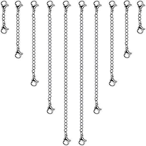 10pcs Necklace Extender, YGDZ Stainless Steel Chain Extender with Lobster Clasps for Necklace Bracelet Jewelry Making, 5 Sizes(1
