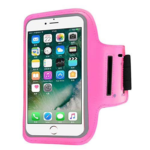 "Water Resistant Cell Phone Armband Case Compatible with iPhone X Xs,8 7 6 6S 8, 7,6S,SE,5S,5C,5,4S,4,GalaxyS9,S8,S7,S6,Phone Models Diagonal 4.0""~5.2"". Adjustable Band & Key Holder-Pink"