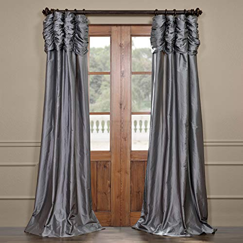 Half Price Drapes PTCH-112-96-RU Ruched Faux Silk Taffeta Curtain, Platinum (Drape Silk)
