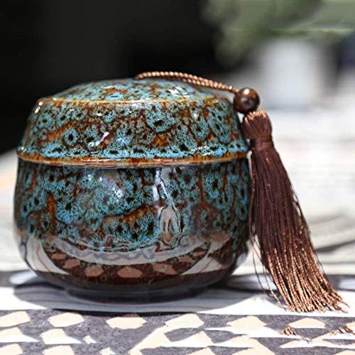 G.TZ Urna Funeraria per Ceneri Urna Commemorativa per CenerePet - Ceramica Urn & Handmade- Blu