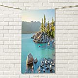 smallbeefly Lake Sports Towel Pastoral Spring Time Scenery in Provincial Countryside Lake Beach Shallow Water Theme Absorbent Towel Blue Grey Size: W 35.5'' x L 30''