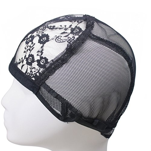 Beauty : Lace Wig Caps For Making Hair Weave Wigs Hair Net with Adjustable Straps Swiss Lace Eerya Brand Medium Size Black Colour