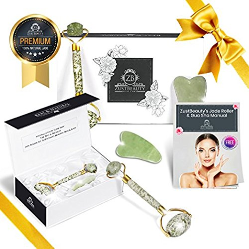 Jade Roller and Gua Sha Tool Set Kit –100% Natural Real Jade– Ideal for the Body and Face to Boost Blood Circulation and Skin Collagen Production– Anti Aging Facial Therapy & Manual Inside- Zust