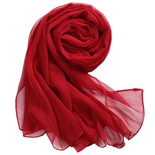 Femmes Soie Wrap En Mousseline Pure Chic De Élégant Adeshop Echarpe Foulards Plage Écharpe Châle Longue Mince Filles Couleur Rouge Mode nx8gAIwqP