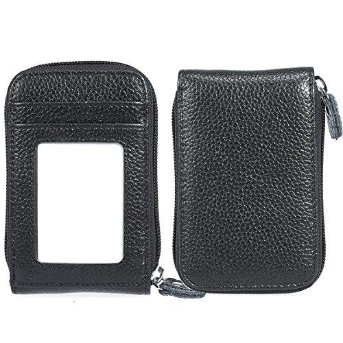 ManChDa® Kartenhalter Schwarz Echtes Leder Geldbörse RFID-Blockierung Kreditkarteninhaber Visitenkarten Fall Führerschein + Geschenkbox
