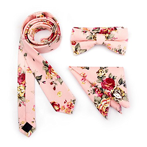 Stylefad Men's Floral Skinny Neck ties and Bowtie Pocket Square 3pcs Set for Gifts Pink (Cream Floral Pink)