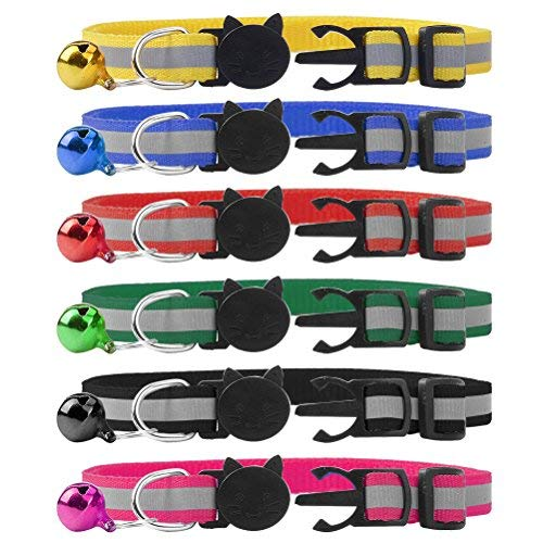 6 Pack Reflective Cat Collar Breakaway with Bell and Safety Buckle by BFlife