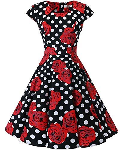 Homrain Women's 1950s Retro Vintage A-Line Cap Sleeve Cocktail Swing Party Dress Black White Rose S ()