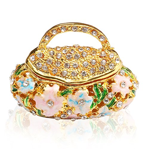 - YUFENG Hinged Trinket Box Jeweled Hand-painted Patterns Jewelry Box Bejeweled Box Collectible for Women (basket)