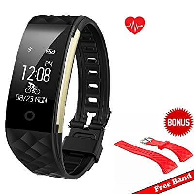 Waterproof IP67 Fitness Tracker Smart Wristband with Heart Rate Activity Tracker and Sleep Tracker Sport Watch for Swimming Running, Pedometer for iPhone and Android Smartphones - Black