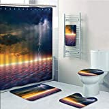 Bathroom 5 Piece Set shower curtain 3d print,Lake House Decor,Apocalyptic Sky View End of the World Majestic Mystic Sky Solar and Flames Image,Orange Blue,Bath Mat,Bathroom Carpet Rug,Non-Slip,Bath To