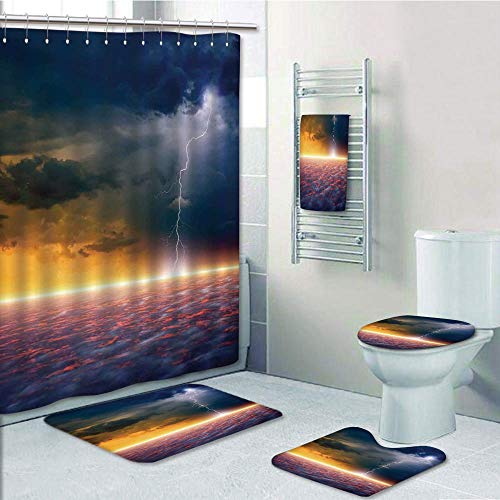 Bathroom 5 Piece Set shower curtain 3d print,Lake House Decor,Apocalyptic Sky View End of the World Majestic Mystic Sky Solar and Flames Image,Orange Blue,Bath Mat,Bathroom Carpet Rug,Non-Slip,Bath To by iPrint